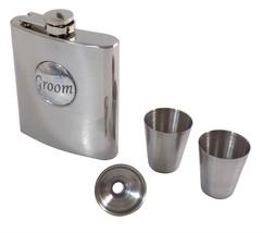 GROOM WEDDING STAINLESS STEEL HIP FLASK 6OZ FUNNEL & SHOT GLASSES MADE I... - $35.28