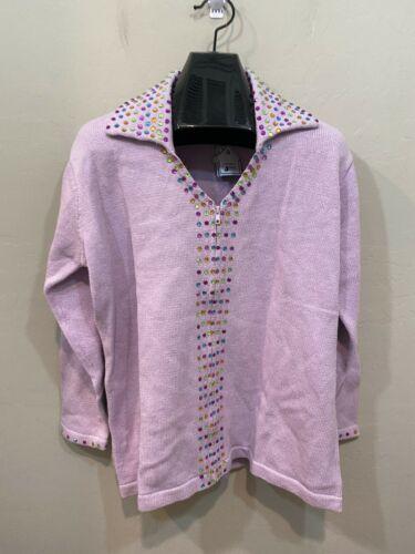 Storybook Knits Lavender Zip Up Cardigan Sweater Plus Size 1X Gems HSN