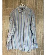 T. HARRIS LONDON Striped Dress long sleeve Shirt Men's Large 100% Cotton - $14.52