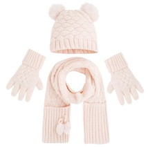 Mayoral Little Girls 3-Piece Basketweave Knit Hat Glove Scarf Accessory Set