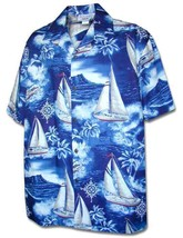 """Sailboats"" Tropical Hawaiian Made Men's Casual Shirt/NWT/100% Cotton - $44.50+"