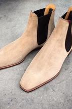 Handmade Men's Beige Suede Chelsea Dress Formal Shoes image 2