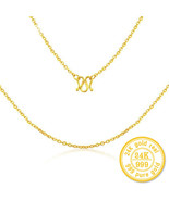 ZZZ 24k Pure Gold Necklaces Rope Chain Simple Fashion Women Jewelry - $599.99