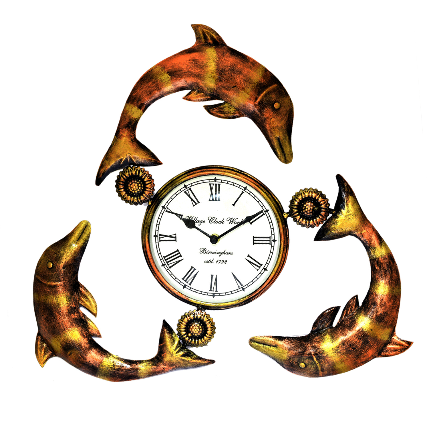 Decorative Wall Clock/Living Room of Fish Clock. Handmade iron Hand painted