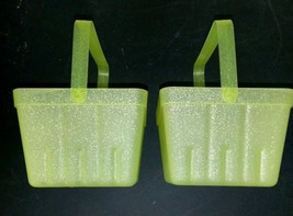 (X2) Spritz Lime Green Sparkly Berry Basket W/Handle LOT OF 2 BASKETS- NEW!
