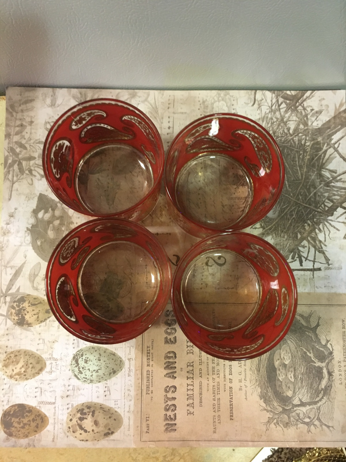 Vintage Mid Century Modern Culver Red Paisley Cocktail Glasses