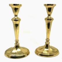 "Vintage Pair Brass Gold Pillar Candlestick Holders 11""H  Patina Set of 2 - $44.99"