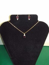 Genuine Garnet Necklace and CLIP-ON Earring Set - €16,26 EUR