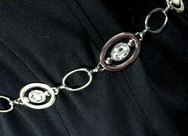 Womens Silver Tone Metal Oval Rhinestone Chain Link Belt 20-32pb25-81 - $20.35