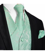 Mint Aqua Green 20-HH Paisley Tuxedo Suit Dress Vest Waistcoat & Neck tie Hanky