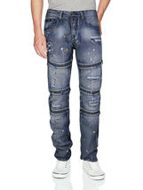 Contender Men's Cotton Moto Quilted Zip Distressed Ripped Destroyed Denim Jeans image 8