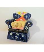 Blond Puppy on  Blue Arm Chair Ceramic Trinket Box - $15.00