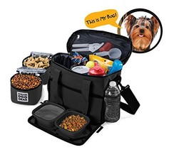Overland Travel Dog Tote Bag Includes Collapsible Silicone Bowls