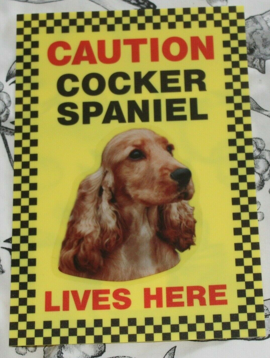 Primary image for CAUTION COCKER SPANIEL LIVES HERE -  DOG SIGN GOLDEN COCKER