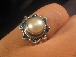 925 Silver Fresh Water Pearl Ring Nepal size 5.... - $36.10