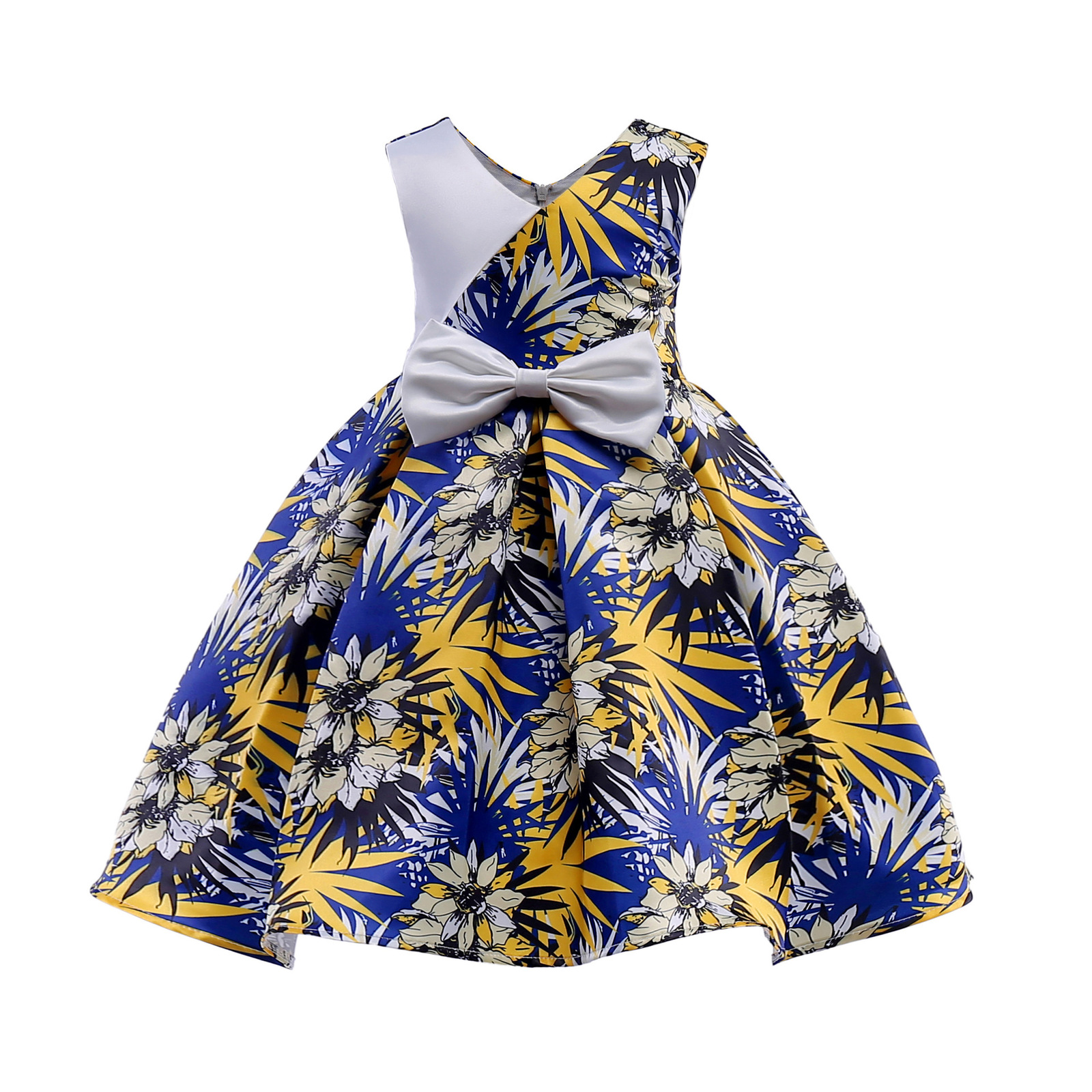 Primary image for Flowers Girl Dresses With Bow Elegant Satin Flower Bow First Communion Dresses