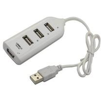4-Port High Speed USB 2.0 Hub Row For PC / Mac White New Mini USB Port Hub - $10.98