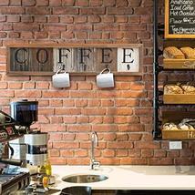 HBCY Creations Rustic Coffee Mug Rack Wall Mounted, Printed Coffee Sign - 6 Coff image 6