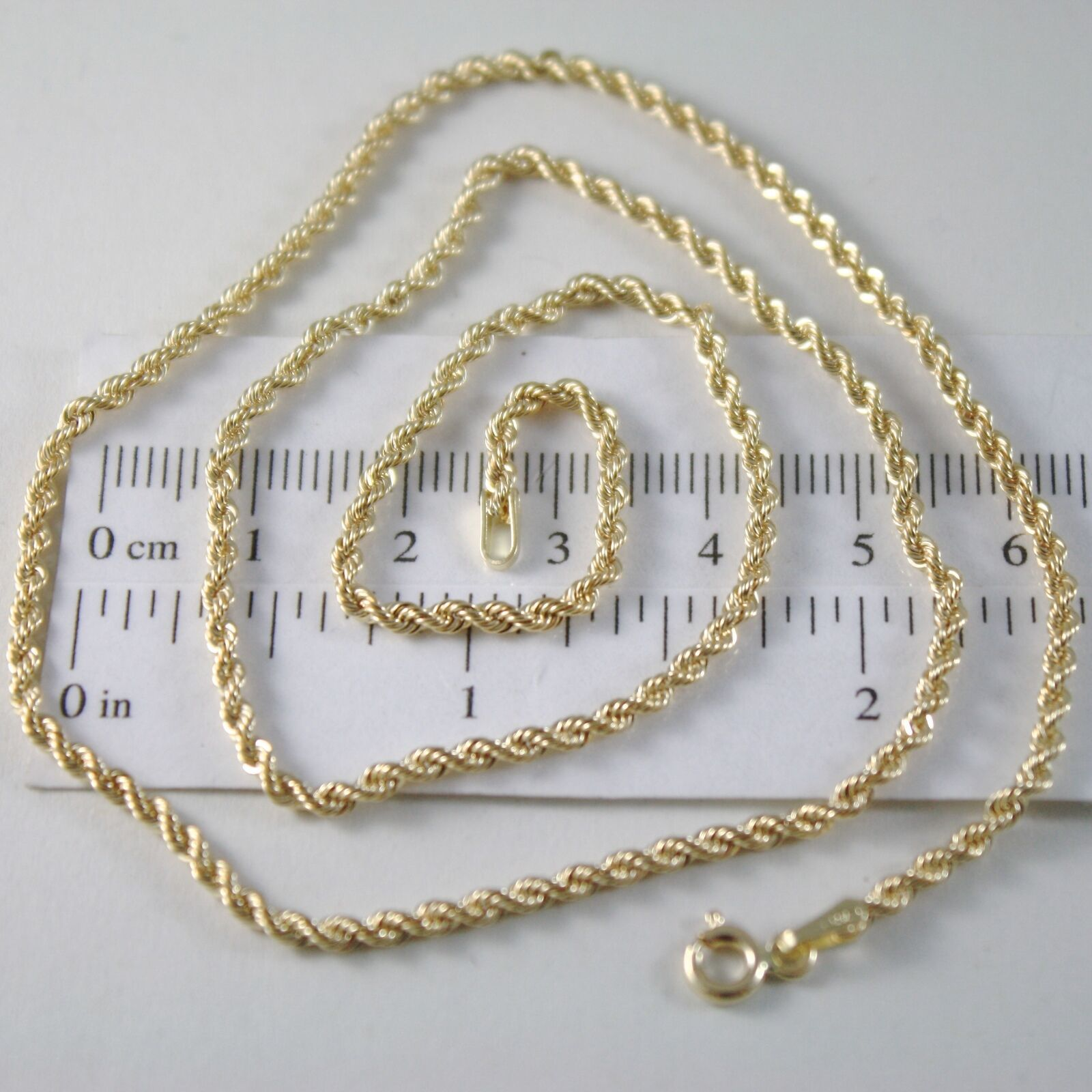 Braided Rope Chain in Yellow 750 18k, 40 45 50 60 cm thickness 2.5 MM