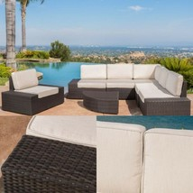 Rattan Sectional Sofa Set With Durable SUNBRELLA Cushions Outdoor Garden... - $1,999.00
