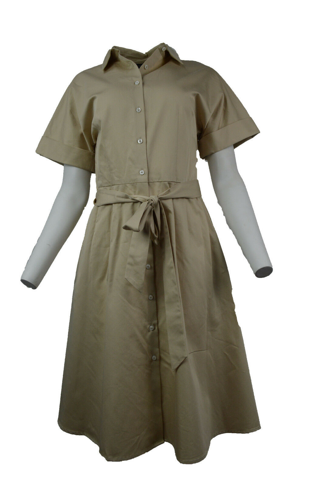 Primary image for New Brooks Brothers Womens Beige Cotton Shirt Size 14 Belt Dress 2898-2