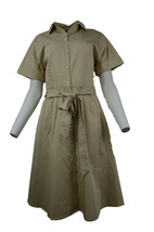 New Brooks Brothers Womens Beige Cotton Shirt Size 14 Belt Dress 2898-2 - $69.42