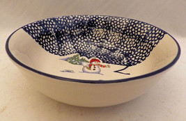 Thomson Pottery Snowman pattern - set/lot of 4 Snowman Cereal/soup bowls... - $14.80