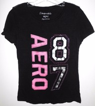 AEROPOSTALE T Shirt MEDIUM Juniors Aero 87 Black Rhinestone Embellished Top - $10.88