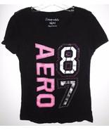 AEROPOSTALE T Shirt MEDIUM Juniors Aero 87 Black Rhinestone Embellished Top - $10.88