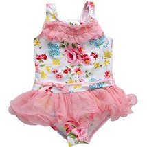 Cute Baby Girls Pink Flower Beach Suit Lovely Swimsuit 2-3 Years Old(90-100cm)
