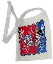 "Canvas Silk Screened Sugar Skulls Day of the Dead Tote Bag Style 6 14"" x... - $9.85"