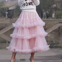Pink Polka Dot Tulle Skirt Outfit Puffy Tiered Tulle Skirt Pink Holiday Outfit  image 4