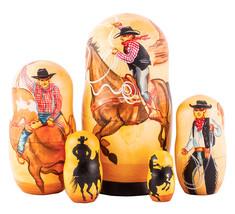 Cowboys Handmade Wooden Nesting Doll Set - $156.99