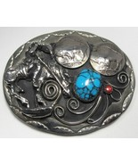 """""""End of Trail"""" Turquoise Coral Buffalo Nickel Belt Buckle C1472 - $56.99"""
