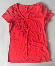 Tommy Hilfiger Womens Red Flowers with Sequins T-Shirt Size Small NWT - $14.01