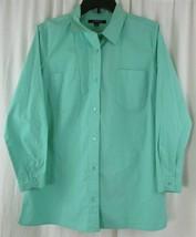 CHADWICKS Woman's Button Down Shirt Sea Foam Green Large - $9.89