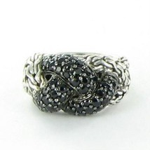 John Hardy Classic Chain Lava Small Braided Black Sapphire Ring Sz 7 New... - $436.50