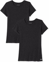 Womens T-Shirt Tech Stretch Short-Sleeve Crewneck, Essentials 2-Pack Bla... - $17.30
