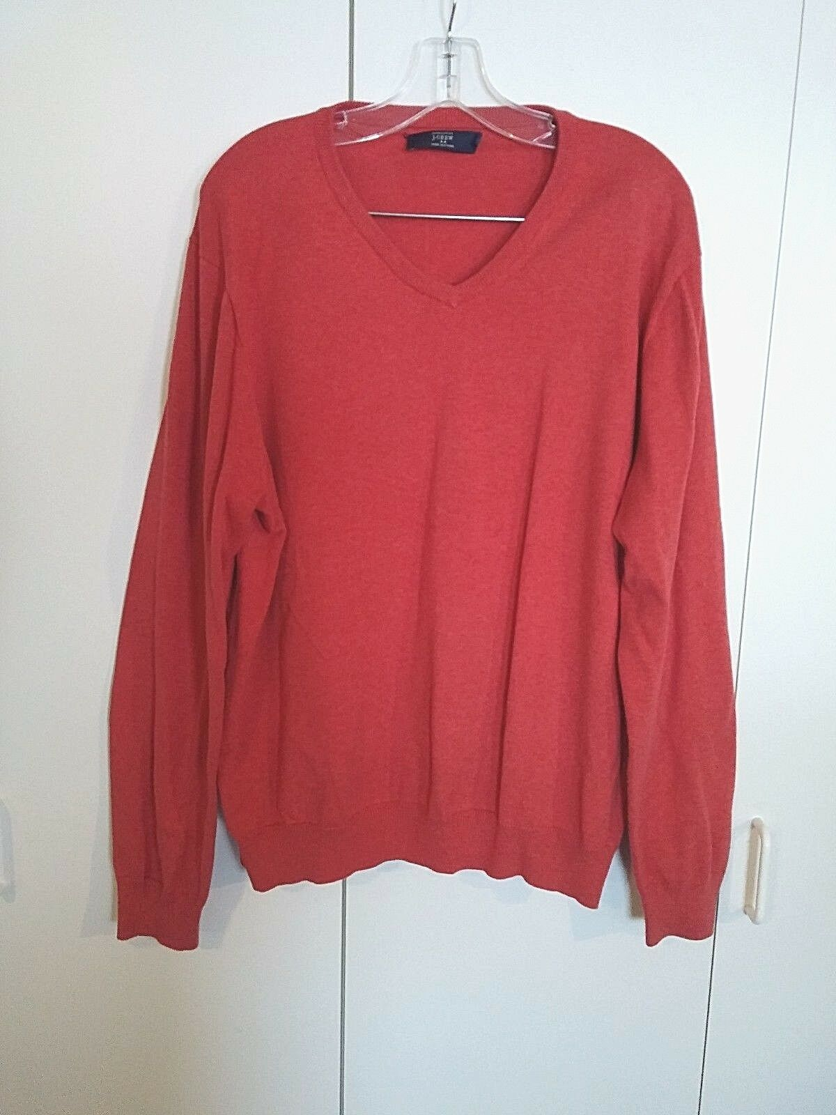 Primary image for J.CREW MEN'S 100% COTTON LS V-NECK PULLOVER SWEATER-XL-NICE-WORN ONCE-ORANGE