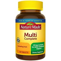 Nature Made Multivitamin Complete Tablets with Vitamin D3 and Iron, 130 Count Pa