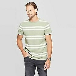 Men's Green Striped Standard Fit Short Sleeve Crewneck T-Shirt Goodfellow &  L