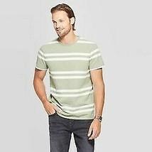 Men's Green Striped Standard Fit Short Sleeve Crewneck T-Shirt Goodfellow &  L