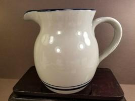 Ceramic Pottery Milk Juice Water Pitcher Blue Edge Stripe Taiwan Vintage - $14.85