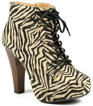 Black Beige Zebra Hidden Platform High Chunky Heel Lace Up Ankle Boot Qupid - $14.99