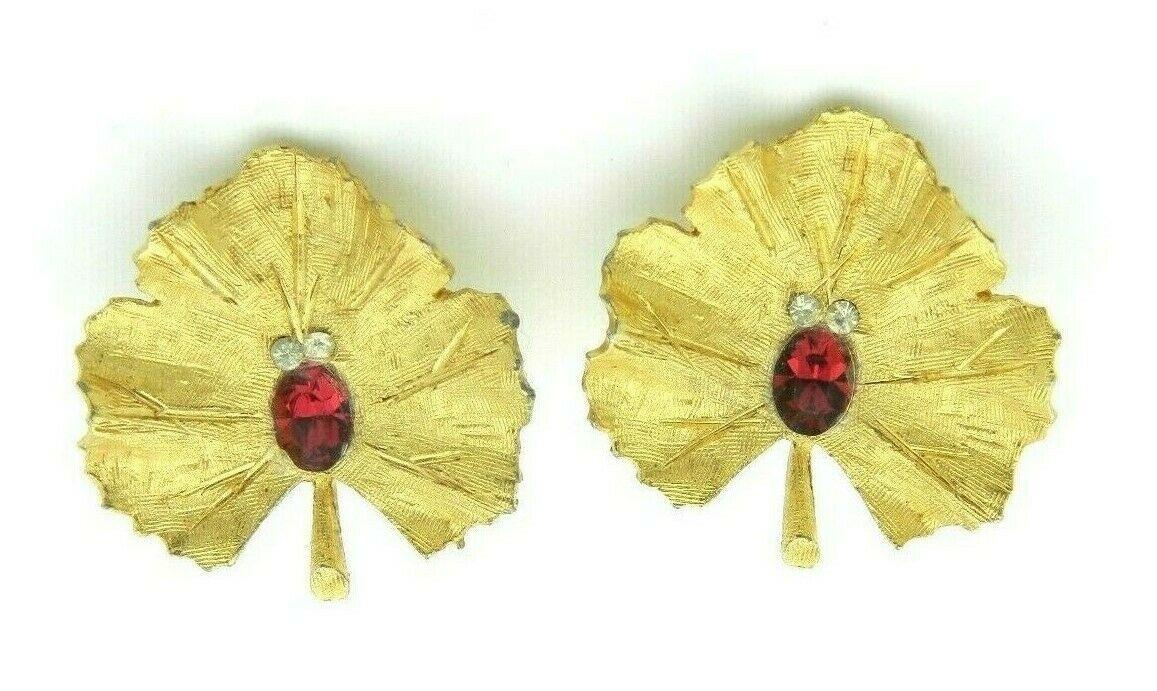 BSK B.S.K. The B. Steinberg Kaslo Gold Tone Red Rhinestone Leaf Earrings - $19.80