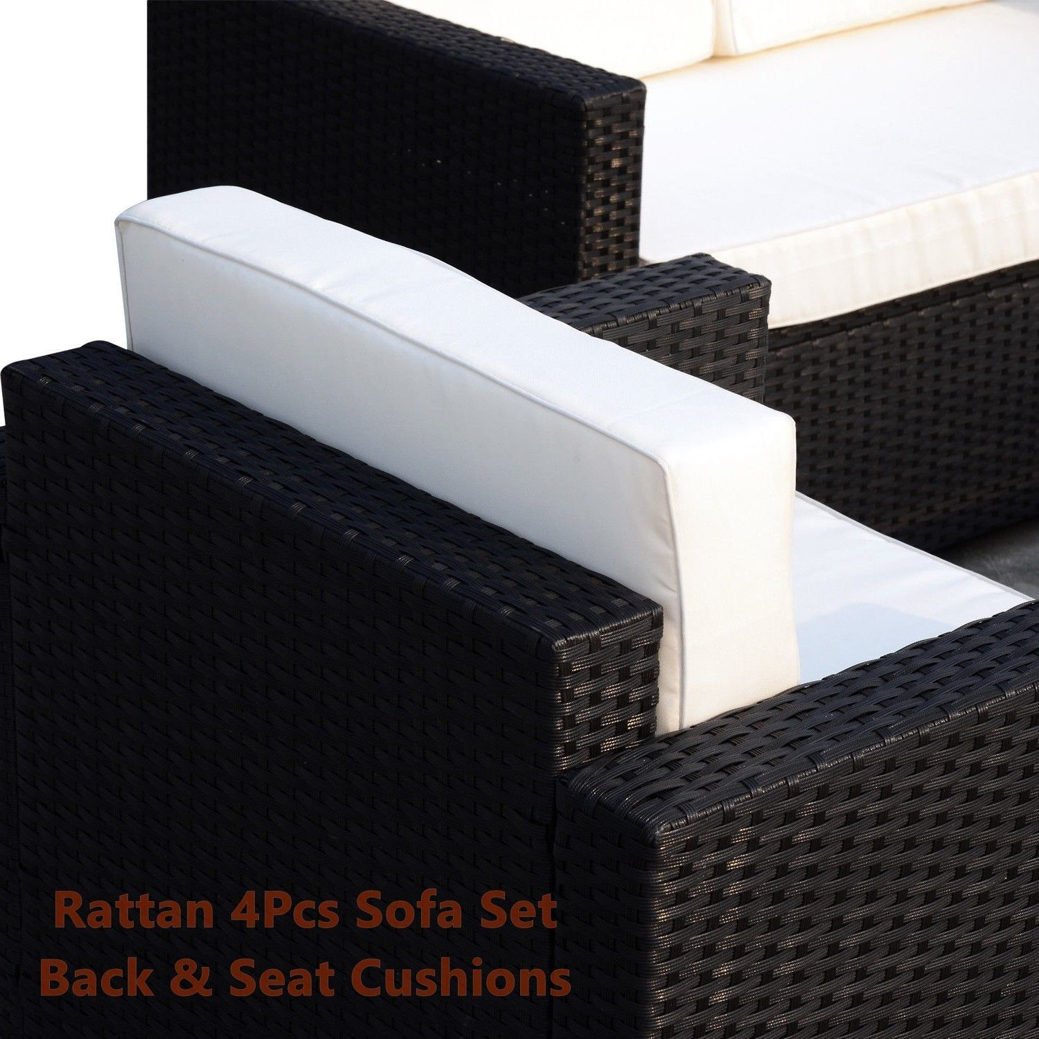 Rattan Sofa Cushioned Set Garden Wicker Glass Top Table Armchairs 4Pcs Black New image 4