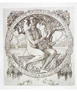 NUDE EX LIBRIS Male God Hermes Playing Lyre - 1922 Lichtdruck Print - $16.20