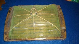 """Wood rectangle tray with Anti Fly Mosquito Umbrella Cover 13"""" x 9"""" x 5"""" New - $12.87"""