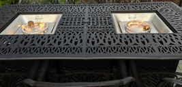 Propane fire pit dining table and chairs cast aluminum patio furniture 9 piece  image 2