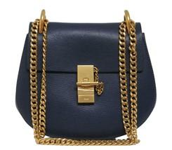 New Chloe Drew Small Denim Blue Goat Leather Gold Chain Bag - $1,566.04